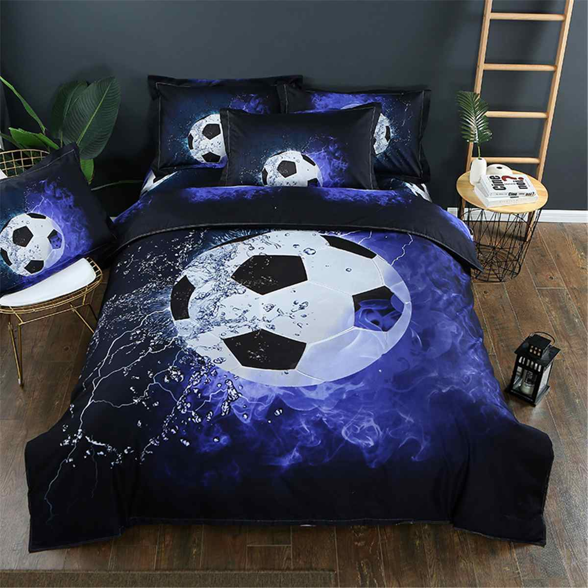 1XDuvet Cover+2XPillow Case 3D Soccer Football Duvet King Size Sports Printed Quilt Cover Pillow Case Bedding Set Bedroom Decor