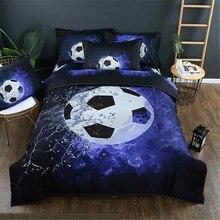 1 x funda de edredón + 2 x funda de almohada 3D de fútbol, edredón de fútbol, tamaño King, cubierta estampada para edredón, funda de almohada, juego de cama, decoración de dormitorio