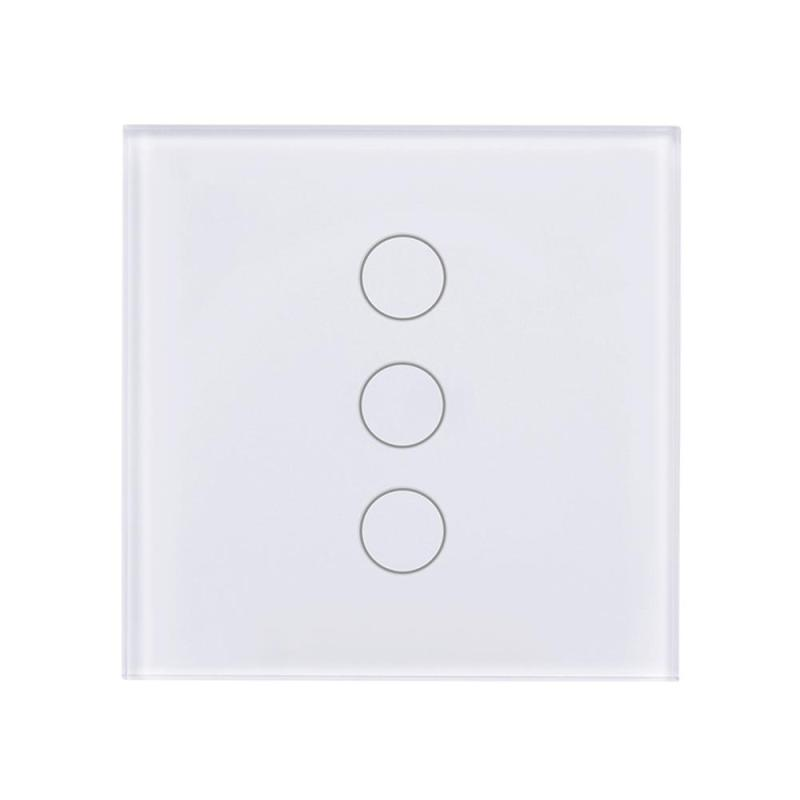 Wifi 3 Gang 1 Way Light Wall Switch Touch Luxury Tempered Glass Pane Wireless Remote Control Switch AC 110-240V EU Standard smart home us black 1 gang touch switch screen wireless remote control wall light touch switch control with crystal glass panel