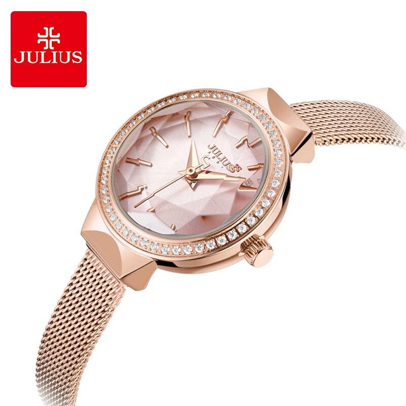 Reloj de pulsera de cuarzo resistente al agua con correa de malla de diamantes de imitación de lujo para mujer-in Relojes de mujer from Relojes de pulsera    1
