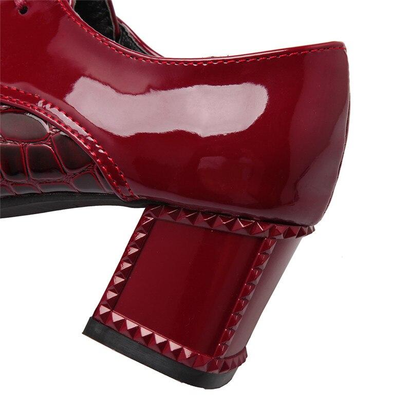 Talons Parti Automne Noir rouge Carré Nouveau Femme Blanc Travail Arrivé Dames Pour Hiver Femmes blanc 2019 Haute Zjvi Noir Brevet Chaussures Pu Pompes OqIT1T