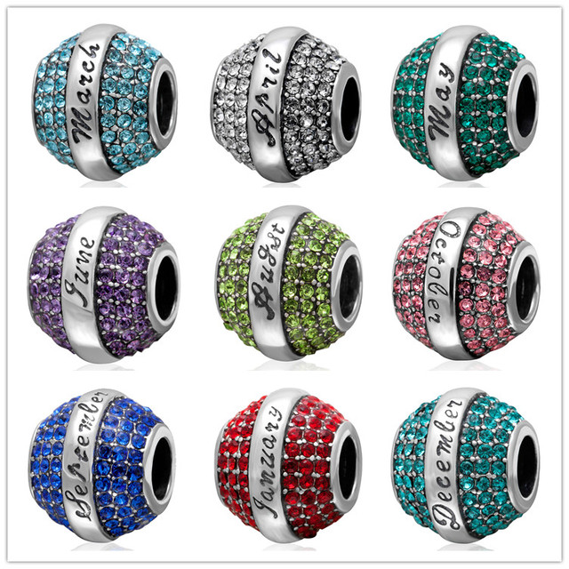 Exquisite July Birthstone Charm 12 Months Colorful Cz Pave Charms