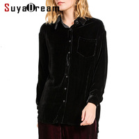 Women SILK SHIRT 100% Silk Velvet Long sleeved casual Shirt Single Pocket 2019 Spring New Office Lady Top shirt Black