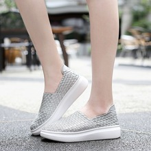 Women Casual Shoes Breathable Mesh Shoes Woman 2019 Summer Women Flats Shoes Fashion Loafers Hollow Lace-Up Walking Sneakers