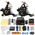 Solong Tattoo Pro Tattoo Kit 2 Rorary Tattoo Machine Gun Power Supply 1 Practice Skin Dual-sided Re-usable One Set TK202-12
