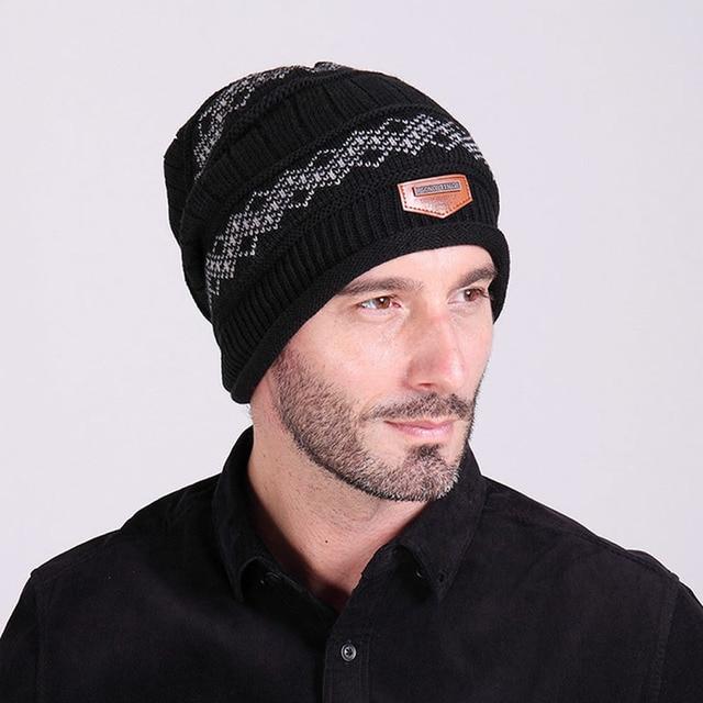 שחור/כחול כהה/קפה/אפור גברים לסרוג בבאגי כפת כובע גולגולת חורף Hat הרפוי שיק סריגים חם!
