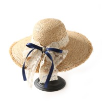 Summer Long Lace Ribbons Bowknot Raffia Hats For Women Summer Large Brim Sun Straw Hats Holiday Beach Caps For Women