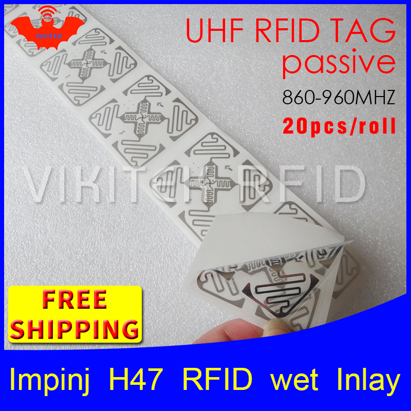 UHF RFID tag sticker Impinj H47 wet inlay 915mhz868mhz 860-960MHZ Higgs3 EPC 6C 20pcs free shipping adhesive passive RFID label 915mhz long range passive uhf rfid tag inlay label for warehouse management