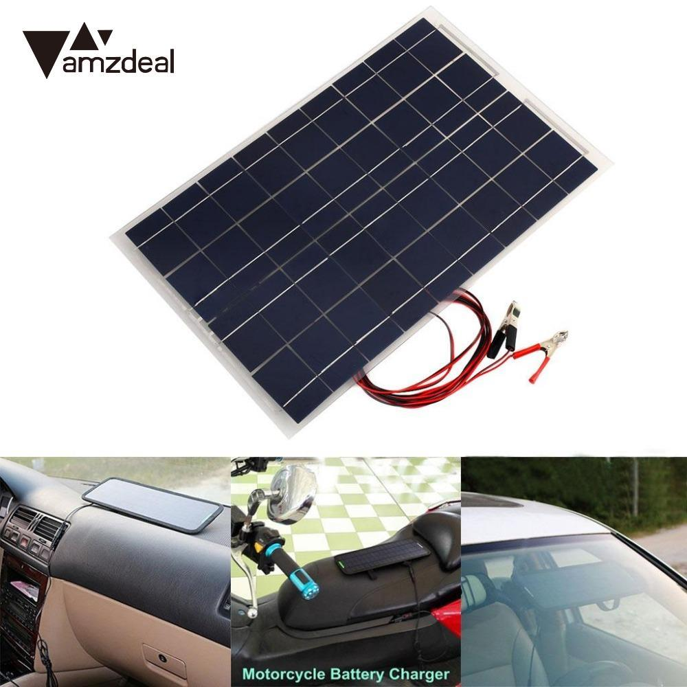 AMZDEAL 18V 30W Portable Solar Power Panel Car RV DIY Battery Charger W/Alligator Clip Professional Home Travelling High Quality