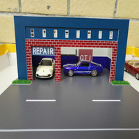1/64 car repair shop assembling car model scene plastic model road waterproof for architecture scene