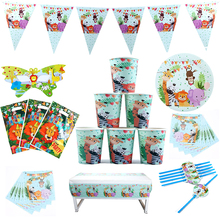 81Pcs\Lot Jungle Animal Theme Birthday Party Decorations Adult Disposable Tableware Wedding Decoration Favors