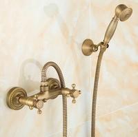 2016 Vintage Antique Brass Design Bathroom Shower Faucet Set / Wall Mounted Luxury Bronze Shower Dual Handle shower set