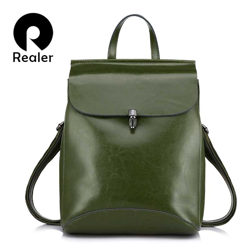 REALER backpack women travel split leather school bags for teenage girls high quality backpack female shoulder