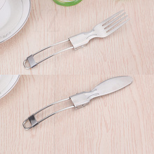Sale 1PC Folding Fork Cutlery for Picnic Cookware Foldable Knife Stainless Steel Camping Equipment Tableware