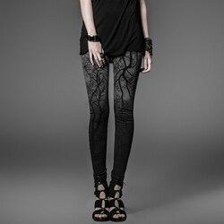 Steampunk Branches Printing Coloured Leggings for Women Gothic Black Slim Stretch Leggings Pants