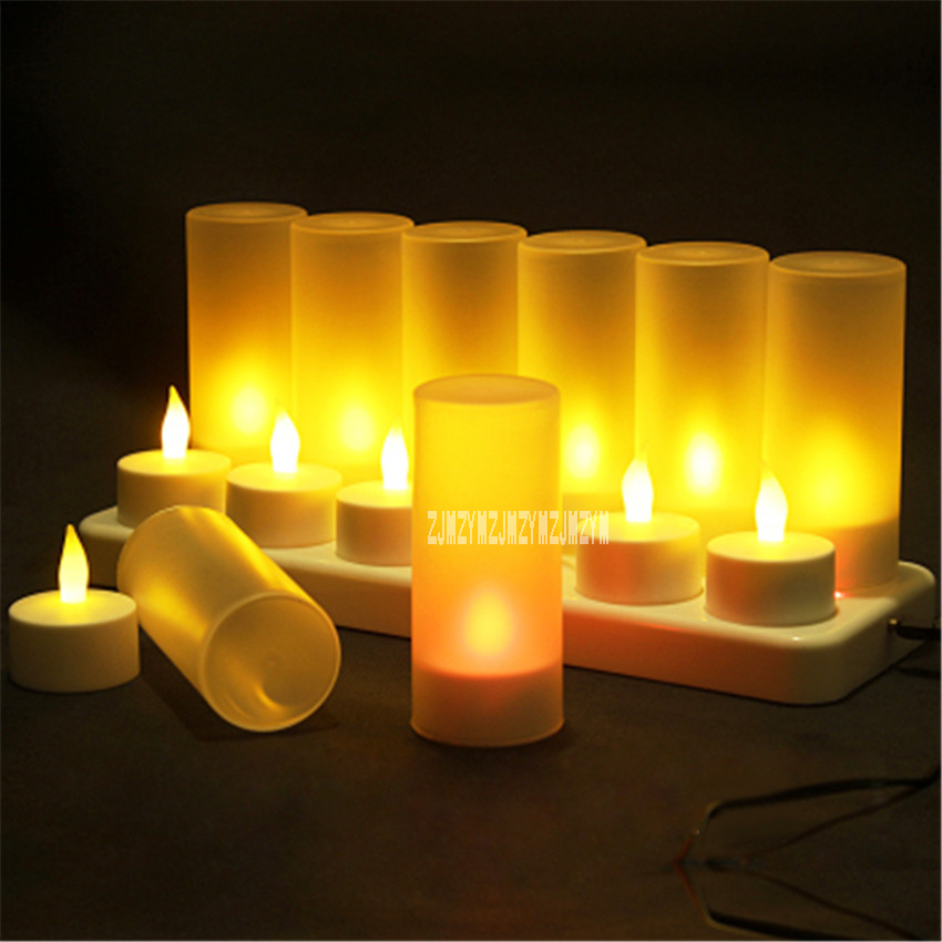 12pcs Rechargeable Led Candles Flameless Light Electric Candle Waxless Lamp Valentine Birthday Wedding Church Decor Hot Selling