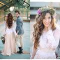 Elegant Long Sleeve Lace Wedding Dresses Blush Pink A Line Wedding Dress Mariage Vestido De Noiva Renda vestidos largos z111401