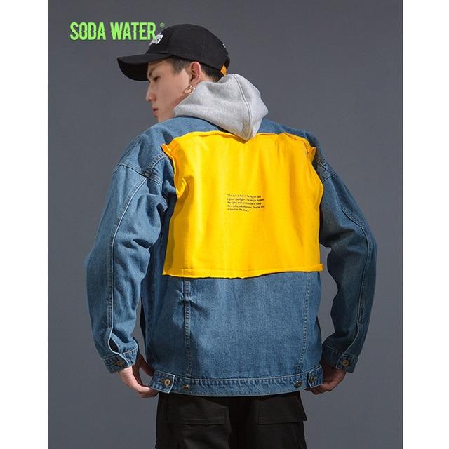 SODA WATER  Denim Jackets Men Women Couple Autumn Hip Hop Fashion Casual Denim Jeans Jacket Streetwear Hip hop Jacket 8764W