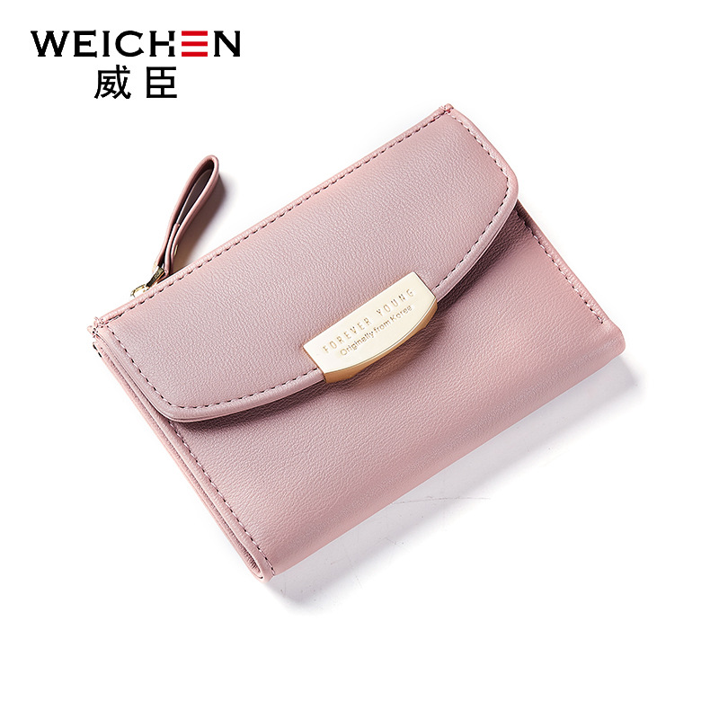 2018 new arrival fashion women wallets brand wallet PU leather solid color high quality metal coin purse mini wallet Korean