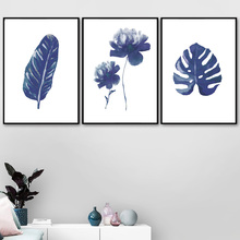 Watercolor Blue Tropical Big Leaves Nordic Plant Posters And Prints Wall Art Canvas Painting Kids Pictures For Living Room