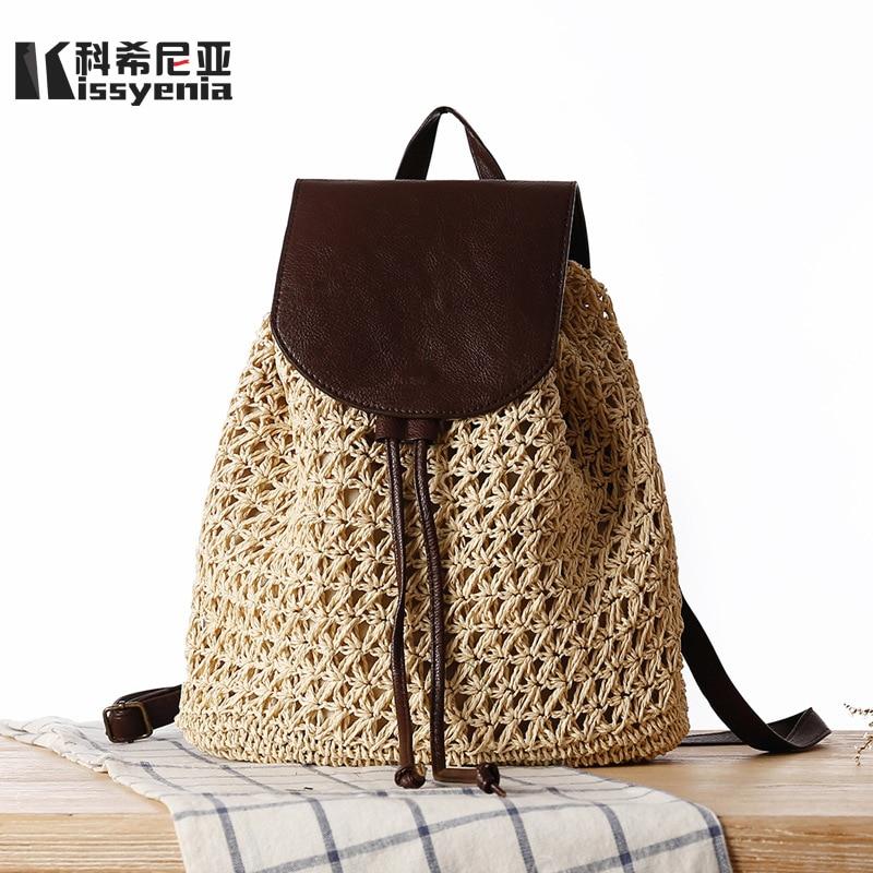 Kissyenia 100% Handmade Beach Women Backpacks Woven Straw Backpacks Bolso Mimbre Bohemia Bali Wicker Leather Bags Female Ks1160