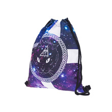 Galaxy cat cross eye 3D Printing mini backpack women drawstring bag mochila 2018 who cares school bags for teenagers sac a dos