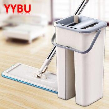 YYBU Magie Reinigung Mops Kostenloser Hand Mopp mit Eimer Drop Verschiffen Etagen Squeeze Flache Mopp mit Wasser Home Küche Boden reiniger