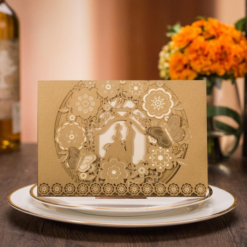 100pcs/pack Express FREE SHIPPING Bride and Groom Gold Paper Floral Wedding Invitation Card  with Inside Paper Envelope and Seal