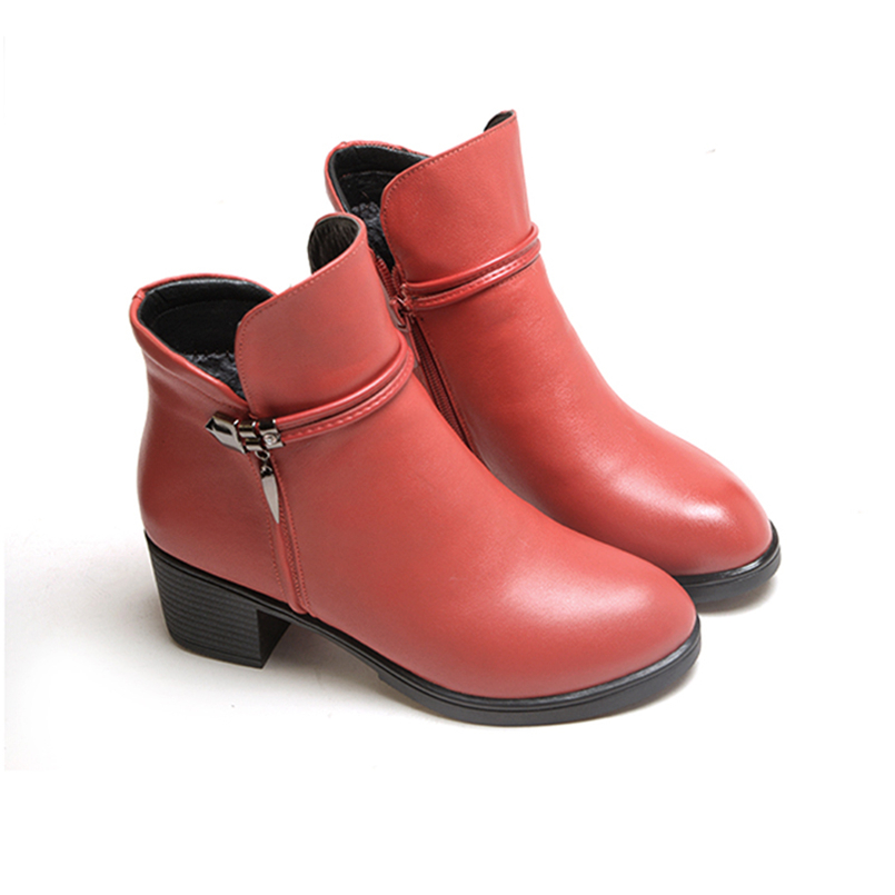 HISDERN  Fashion Winter Women Boots High Heels Genuine Leather Woman Shoe Round Toe Ankle Boot Shoes Red Black Booties 5016 women ankle boots handmade genuine leather woman boots autumn winter round toe soft comfotable retro boot shoes female footwear