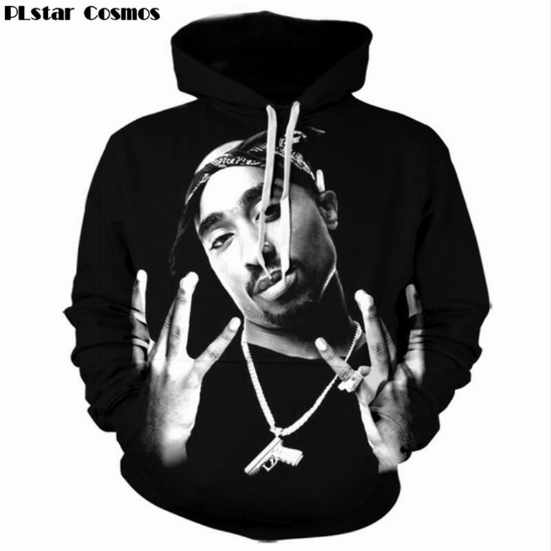 PLstar Cosmos 2017 New fashion 3D Hooded sweatshirts Legend Rapper Tupac 2Pac print Men/Women Hoodies Hip hop style Pullovers