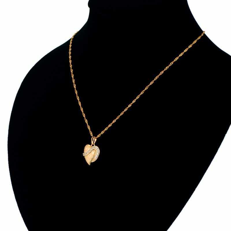 ヴィンテージゴールドカラー 44 センチメートルキューバチェーン & ハートペンダント女性の豪華パヴェラインストーンペンダントジュエリー