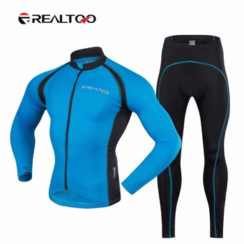 REALTOO Bike Jersey Pants Set Windproof Men's Bicycle Long Sleeve Comfortable Clothes Auti-swear Bicycle Sportswear Cycling Set