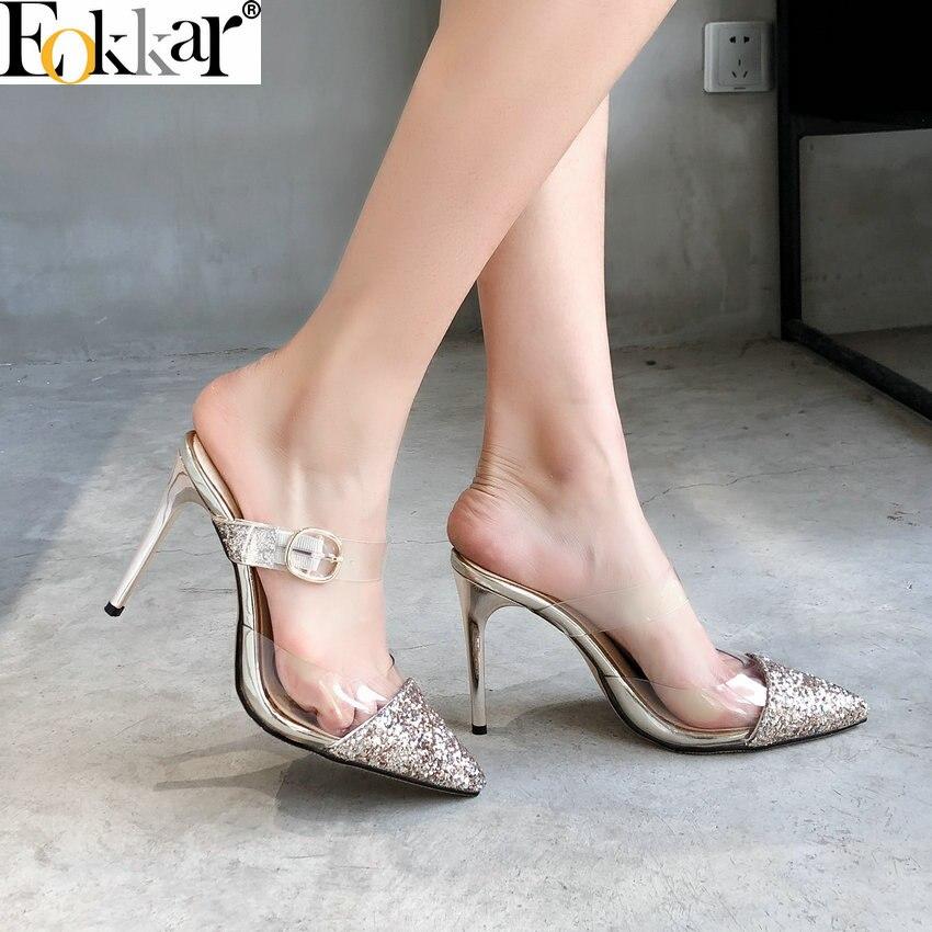 New Women Pointy Toe Transparent PVC Slip On Stilettos High Heels Party Shoes sz