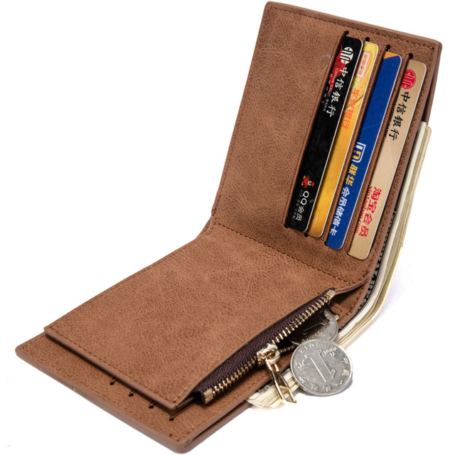 Vintage Leather Hasp Small Wallet Zipper Wallets Coin Pocket Purse Card Holder Men Wallets Money Cartera Hombre Bag Male Clutch 1