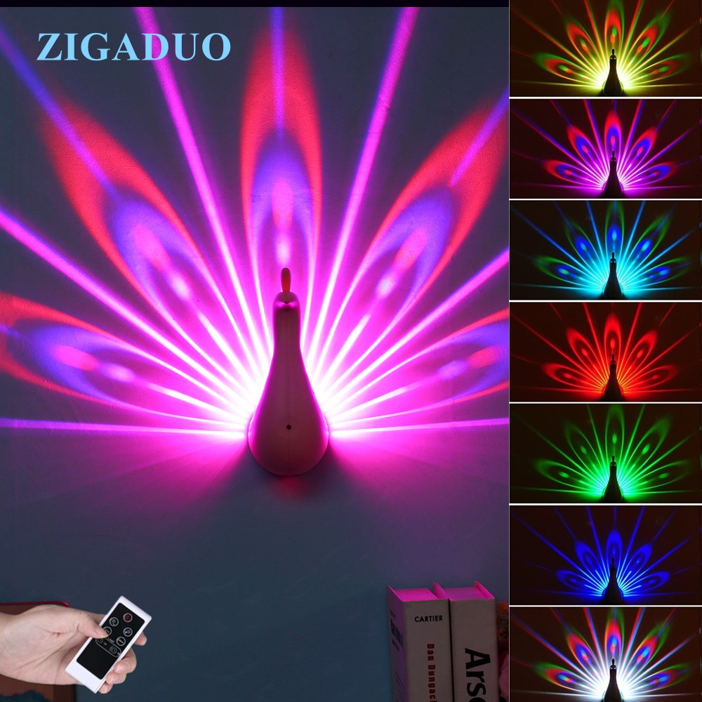Peacock Night Light Projector For Kids Color Changing Led
