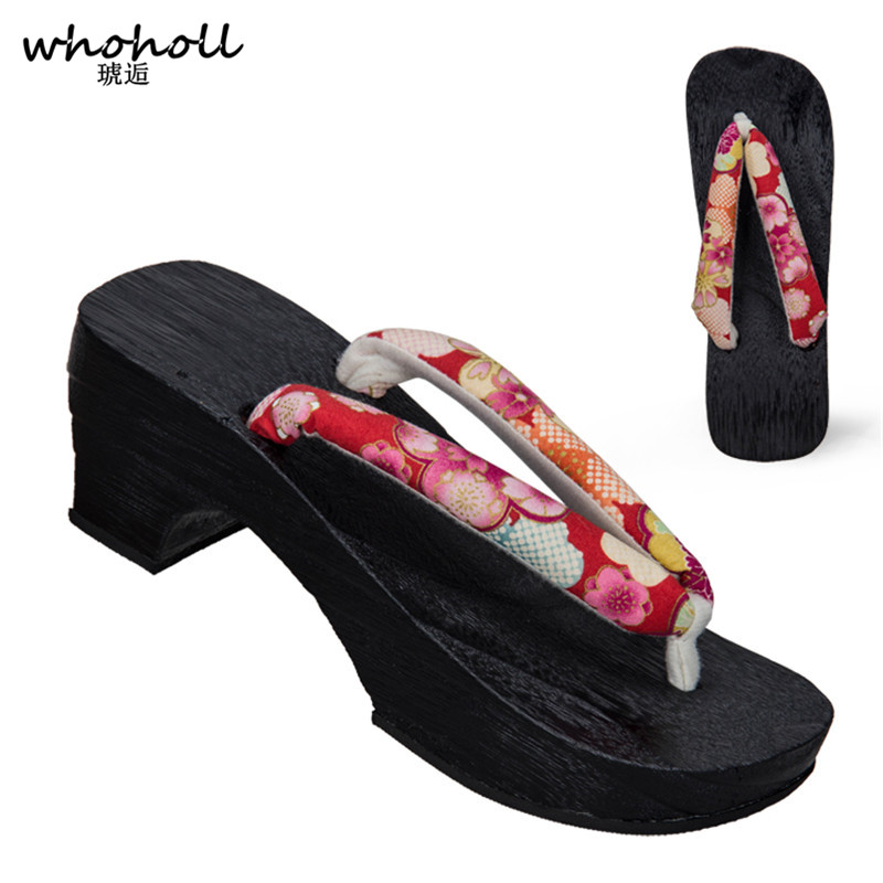 WHOHOLL Japanese Women Clogs Flip Flops Square Heel Paulownia Geta Cosplay Costumes Kimono Shoes Summer Sandals Wooden Shoes in Shoes from Novelty Special Use