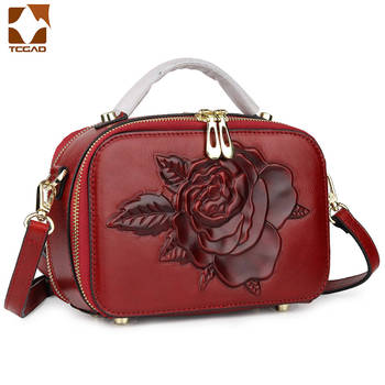 2019 Új valódi bőr kézitáska 3D-s virágok évjárat Női táska táska Női márka Női Messenger táskák Comfort tehén bőr táska táska