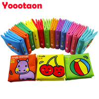 A Set Baby Rattles 12pcs Colorful Animals Cloth Book Rustle Sound Early Education Baby Toys For