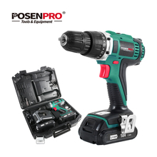 цена на POSENPRO 18V 45Nm DC Lithium-ion Battery 3/8inch 2-Speed Electric Cordless Drill Mini Electric Screwdriver Wireless Power Driver