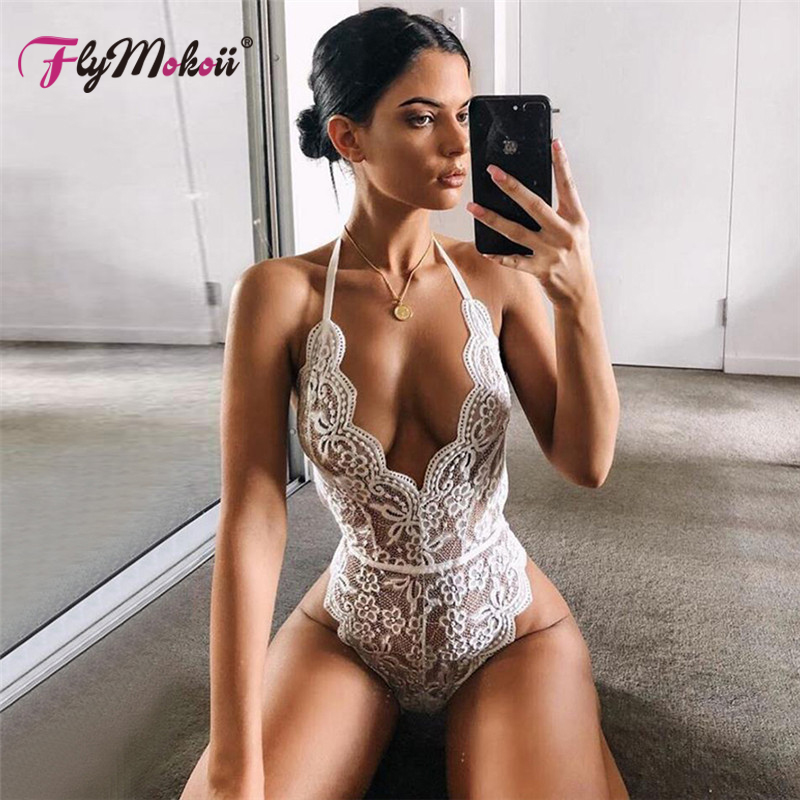 Flymokoii Top selling Backless halter lace bodycon transparent female black sexy teddies jumpsuits women deep V White bodysuit