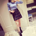 High Quality Skirts 2016 Autumn And Winter Warm Casual Women High Waist Plaid Pencil A-Line Skirt Elegant Slim Short Skirts