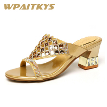 Exquisite Women Shoes Rhinestone Sandals Fashion Golden Purple Two Colors Available Crystal Leather Casual Wedding