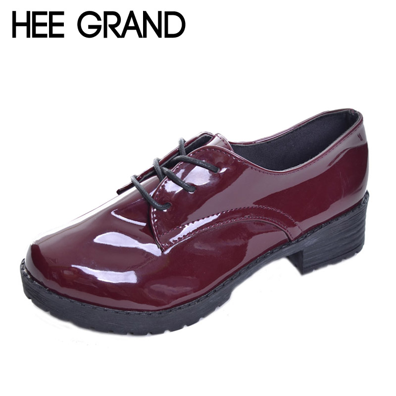 HEE GRAND Women Platform Pumps 2017 Spring High Quality Oxfords Solid Plain PU Leather Creepers Casual Shoes Woman XWD848 bling patent leather oxfords 2017 wedges gold silver platform shoes woman casual creepers pink high heels high quality hds59