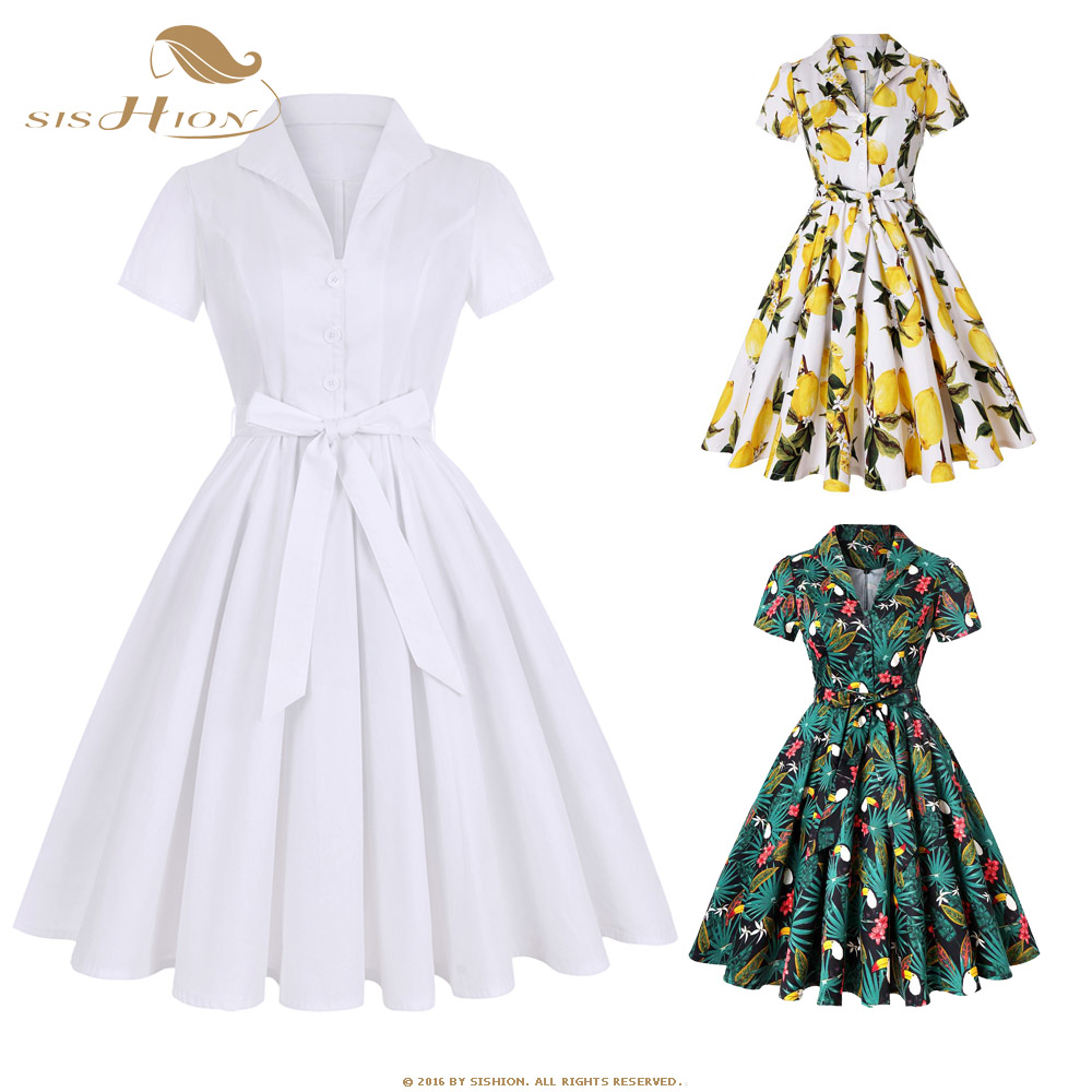 SISHION Plus Size White Retro Vintage Rockabilly Dress SD0002 Large Swing Elegant Short Sleeve Tunic Women Cotton Summer Dress(China)