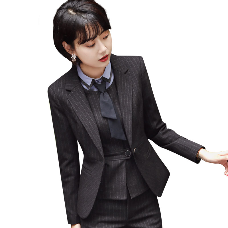 The new career suit female 2018 spring and autumn long - sleeved small suit jacket trousers casual two - piece suit AL222