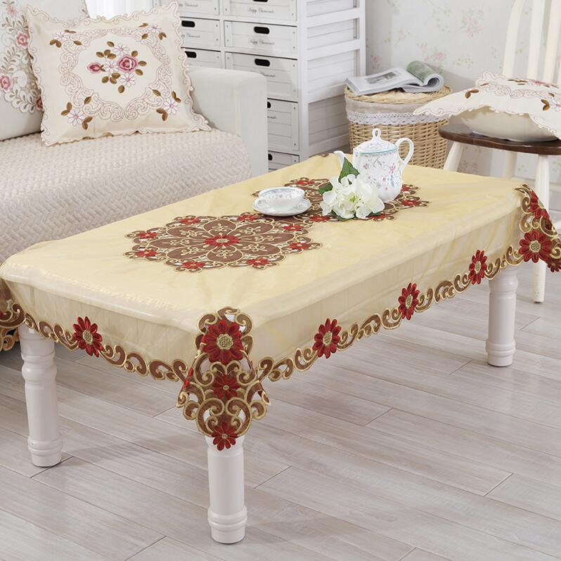 european rural doublesided embroidered tablecloth home decor round table cloth chair cover champagne table - Wedding Table Runners