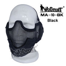 Tactical Mask For Airsoft Paintball Outdoor Airsoft Steel Wire Mesh Half Face Mask Ear Cover Tactical Hunting Guardian Mask
