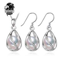 Fenasy flor joyería de la perla, perla natural colgante de collar y aretes, pendientes naturales para las mujeres, de la boda joyería