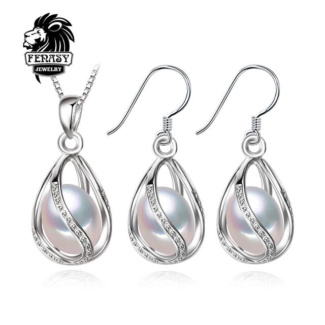 Fenasy flor jogo da jóia da pérola, pérola natural pingente de colar e brincos do parafuso prisioneiro, brincos naturais para as mulheres, casamento jóias