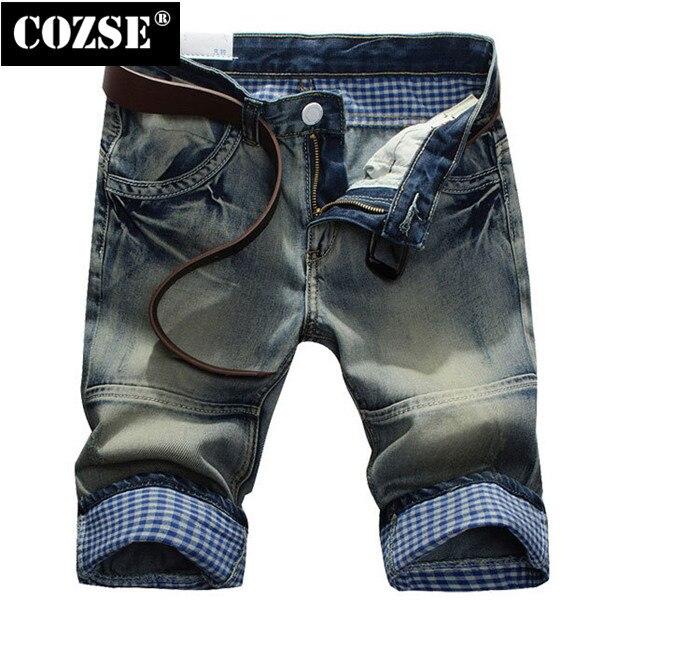 2015 New Fashion Summer Men Slim Plaid Folding Wash Knee Length Jeans Pants Trousers Hot Sale